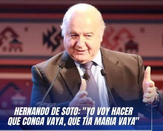 """Hernando de Soto: «Conga y Tía María sí van""""."""