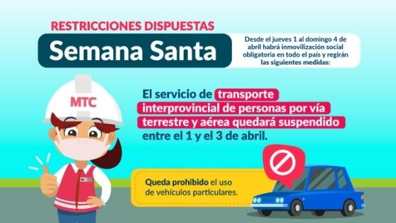 Transporte interprovincial quedará suspendido en Semana Santa